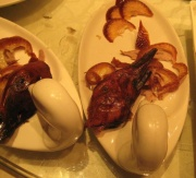 Peking duck is delicious, despite the face.