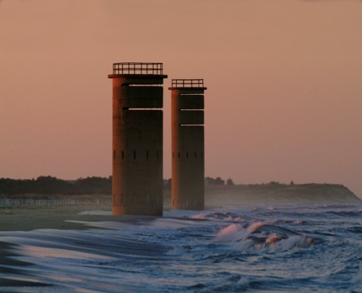 Observation towers stand watch at the water's edge in Rehoboth.