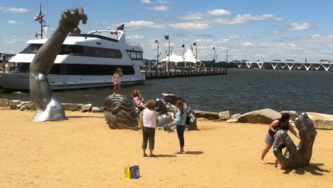 National Harbor even has a beach with the most extraordinary sculpture. Kids seem to like it.