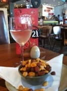 Vinho verde and Portuguese spiced nuts — lunch starting out just right.