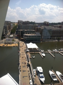 The view of National Harbor from 180 feet above the Potomac River.