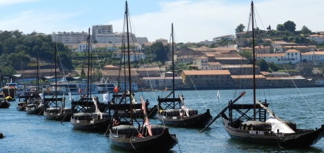 Rabelos, the traditional Portuguese boat used to bring port from the vineyards to the port,  moored at the harbor across from Porto.