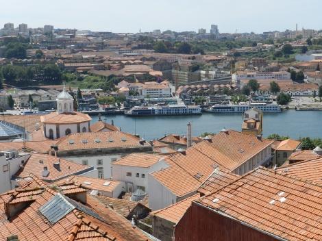 River cruise boats tie up at Vila Nova de Gaia across the Douro River from Porto.