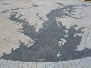 A map in the sidewalk outside of Fort McHenry's Visitor and Education Center displays locations of battles during the War of 1812.