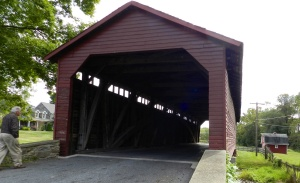 The Utica Bridge is the first you'll see. There's a place to pull off and investigate after you drive through the bridge.