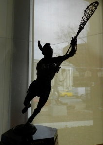 The Tewaaraton Trophy is the Heisman Trophy of lacrosse. Given to outstanding college players —both men and women —its name is Mohawk for lacrosse.