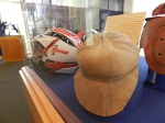 How lacrosse player's headgear has changed. The oldest and the newest are among those on display.