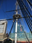 The mast of the Lightship Chesapeake against the backdrop of downtown Baltimore.