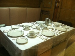 The rest of the Torsk may be metallic and confining but the officers could relax in comfort at dinner.