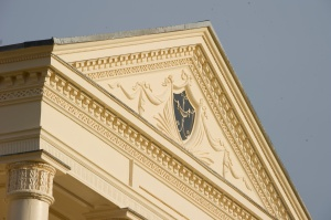 Fine decoration on the pediment of Homewood's porch is the first hint of the carvings and moldings inside.
