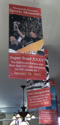 Ravens' Super Bowl victories are remembered on banners in the lobby of Sports Legends.