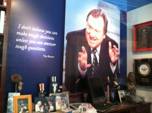 Tim Russert's office has been partially recreated in one corner of the Newseum.