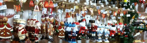 Ornaments await new homes in the Kathe Wohlfahrt booth at Baltimore's Christmas Market.