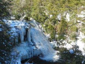 Muddy Creek Falls on a very cold day.