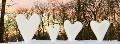 Someone left these snow hearts at the top of the slopes at Wisp.