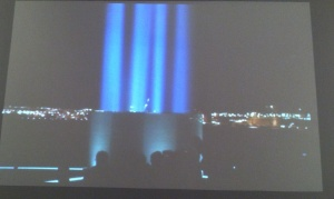 A view of the Iceland Imagine Peace Tower shown in the 20-minute video.