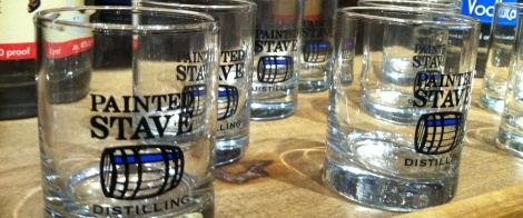 Painted Stave glasses waiting to be filled with the distillery's Silver Screen vodka or Candy Manor gin.