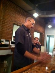 Ron explains how the espresso vodka came to be at the tasting room bar.