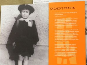 This display recalls Sadako and all the origami cranes she folded.