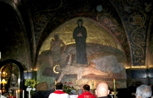 Mass at the altar above Golgotha.