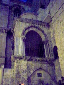 The group approached the Church of the Holy Sepulchre in pre-dawn darkness.