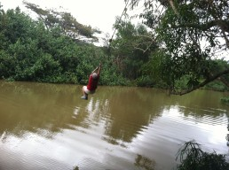 If I can drive an ATV, I might as well try out the rope swing, ala Indiana Jones.