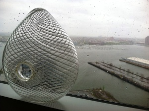 The view of Baltimore's harbor and one of the vases on display in the show house.