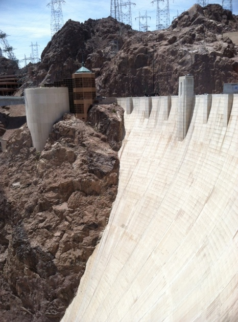 A close up of the dam and its visitor center.