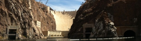 Hoover Dam spans the Colorado River between Nevada and Arizona.