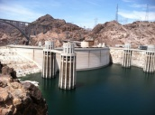 A view of the dam from the Lake Mead side.