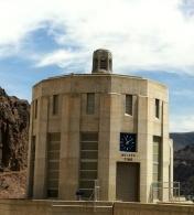"On the Arizona tide, the Intake Tower clock says ""Arizona Time."""