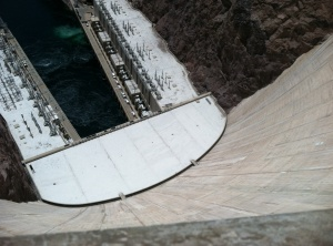 The view looking down the concrete wall of Hoover Dam.