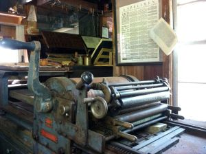 Don't you just love the smell of a newly printed page? The printer has a shop in Furnace Town.