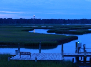 Night falls on Chincoteague Channel.