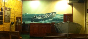 There's even a chapel, with a nautical theme of course.
