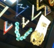 Additional displays occasionally are featured. I met a woman who collects Victory pins — which I'd never heard of before.