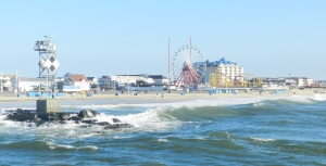 Hello Ocean City! The view of the boardwalk from the ocean.
