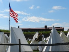 Reenactors' tents surrounded the fort during the festivities.