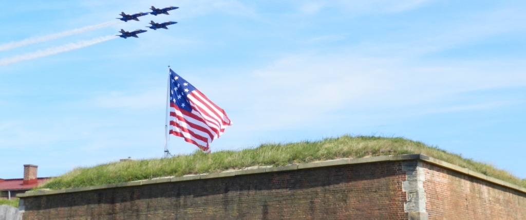 The Blue Angels fly over Fort McHenry.