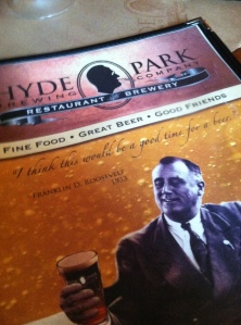 The Hyde Park Brewing Company is right across the street from FDR's home on the Hudson.