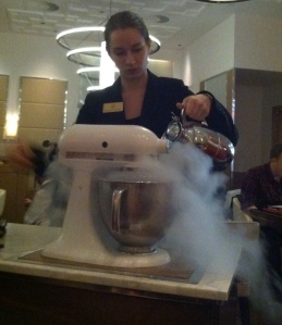 Ice cream made right at your table in Bocuse, the French restaurant at the Culinary Institute of America.