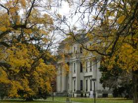 The Vanderbilt Mansion is set in 211 parklike acres with views of the Hudson from the back of the house.