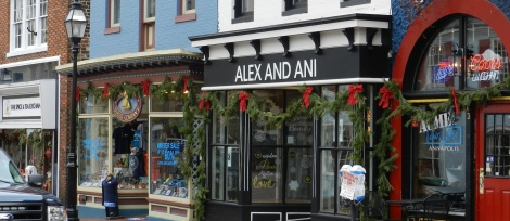 Greenery and red bows make Main Street in Annapolis look classically festive.