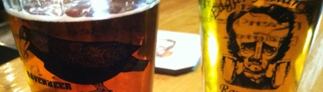 On the left Raven Beer's Tell Tale Ale. On the right Pendulum Pilsner.