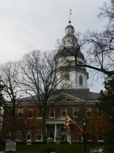 Wreaths adorn the windows of Maryland's State House.