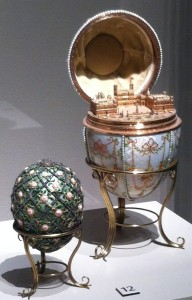 Fit for a czar and the citizens of Baltimore, Faberge eggs are among the collection's show stoppers. The Rose Trellis Egg commemorates teh birth of the czar's son Alexie Nicholaevich. The czar presented the Gatchina Palace Egg to his mother. It opens to reveal the czar's winter palace.