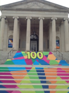 An eye-catching graphic on the steps of the Baltimore Museum of Art leads visitors to the newly-reopened entrance.