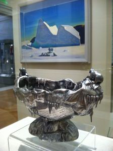 "Rockwell Kent's ""Artist in Greenland"" provides a cool backdrop for the Gorham ice bowl and spoon."