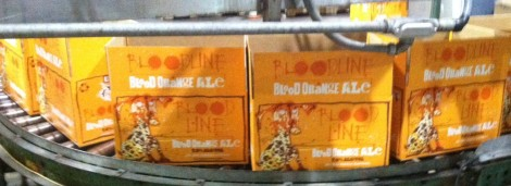 Cases of Blood Line queue up after bottling at Flying Dog in Frederick.