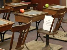 Old fashioned desks take center stage at Bjorlee Museum.